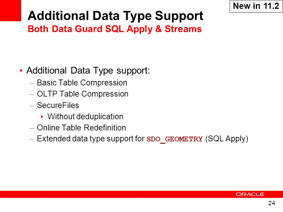Additional Data Type Support Both Data Guard SQL Apply & Streams