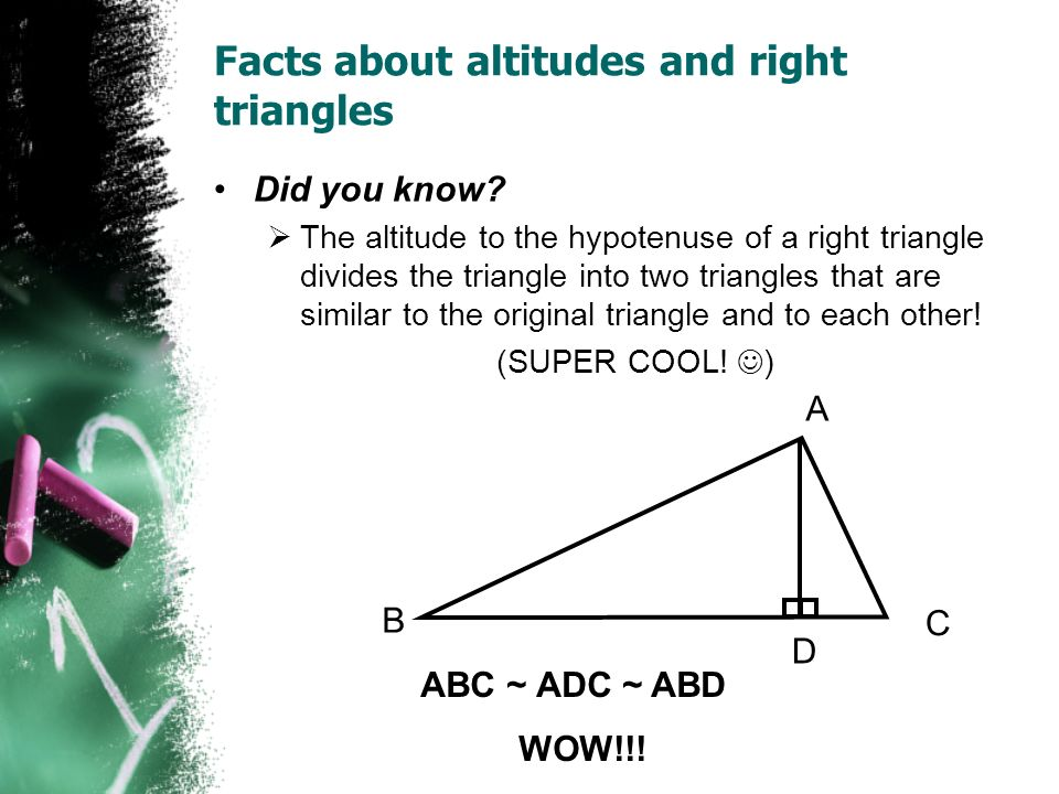Facts about altitudes and right triangles
