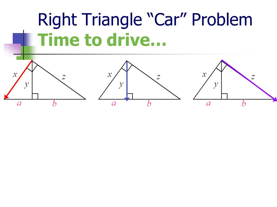 Right Triangle Car Problem Time to drive…
