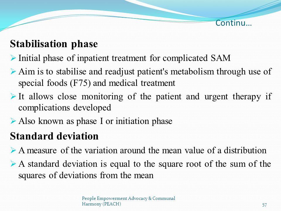 Stabilisation phase Standard deviation Continu…