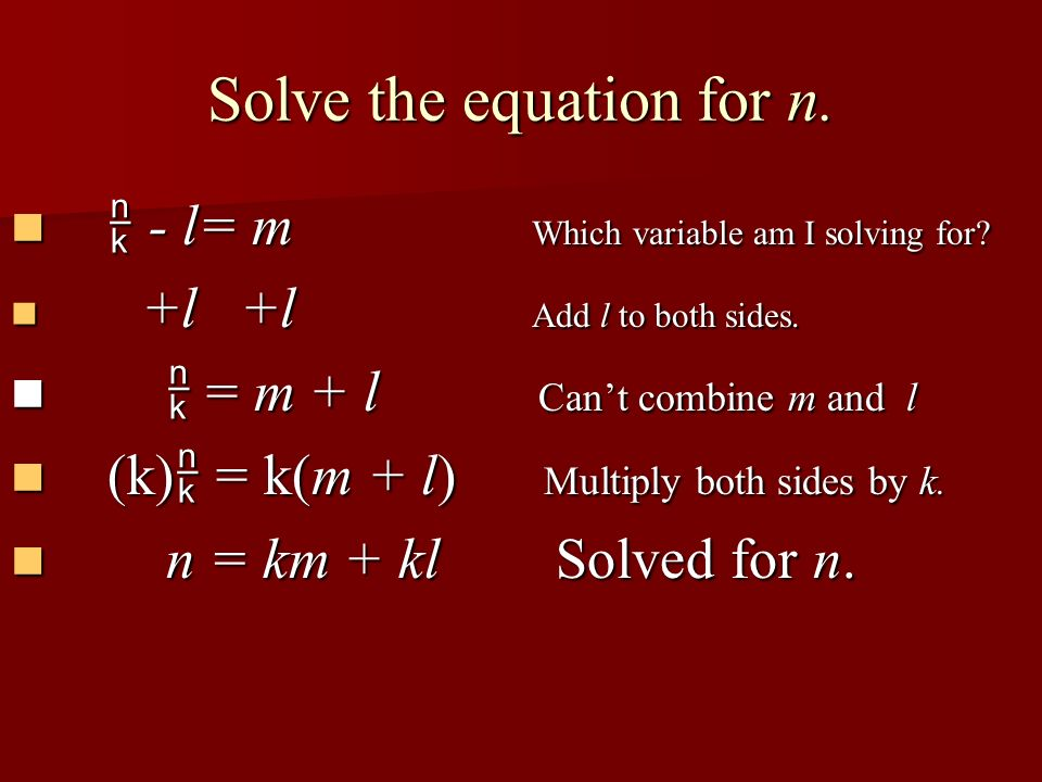 Solve the equation for n.
