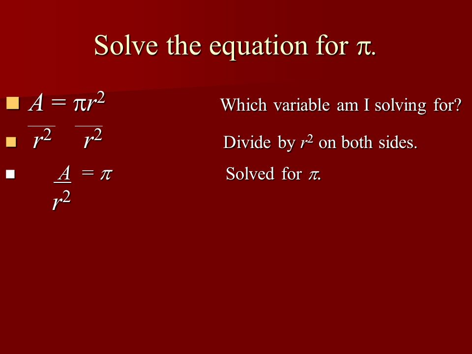 Solve the equation for .
