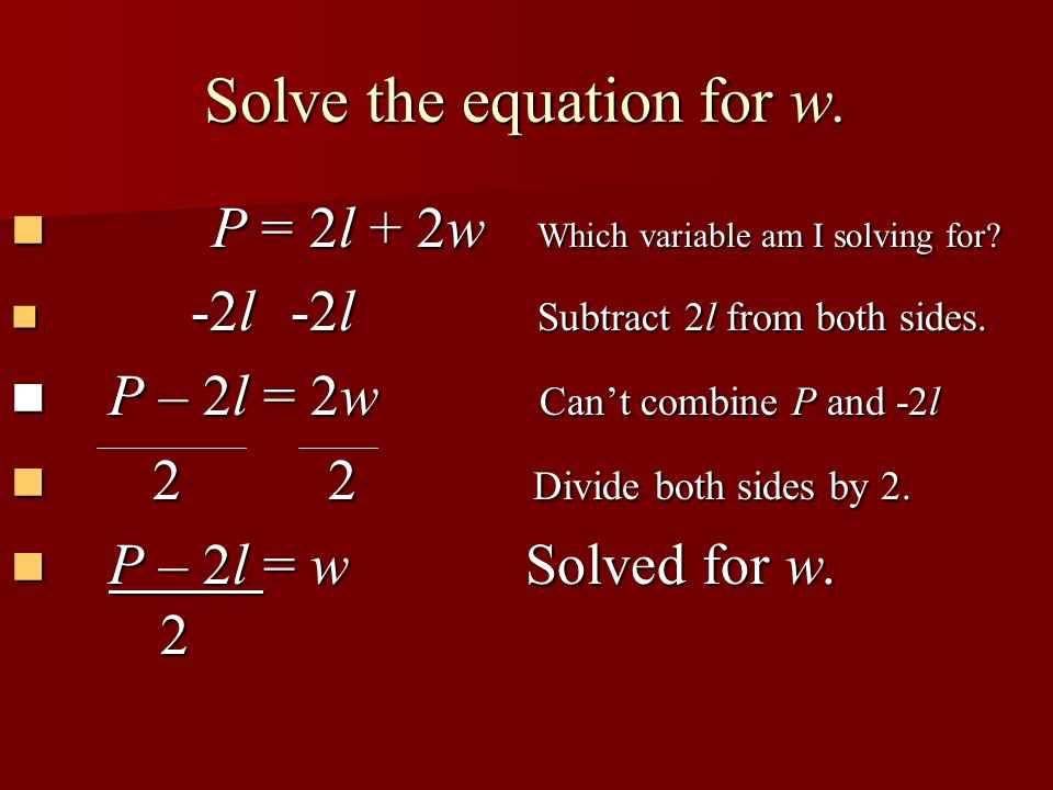 Solve the equation for w.