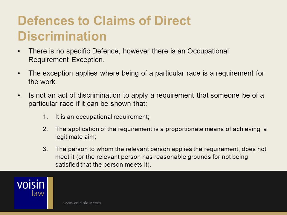 Defences to Claims of Direct Discrimination