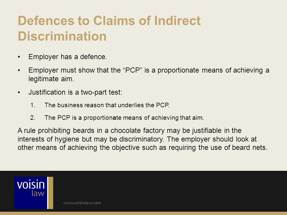 Defences to Claims of Indirect Discrimination