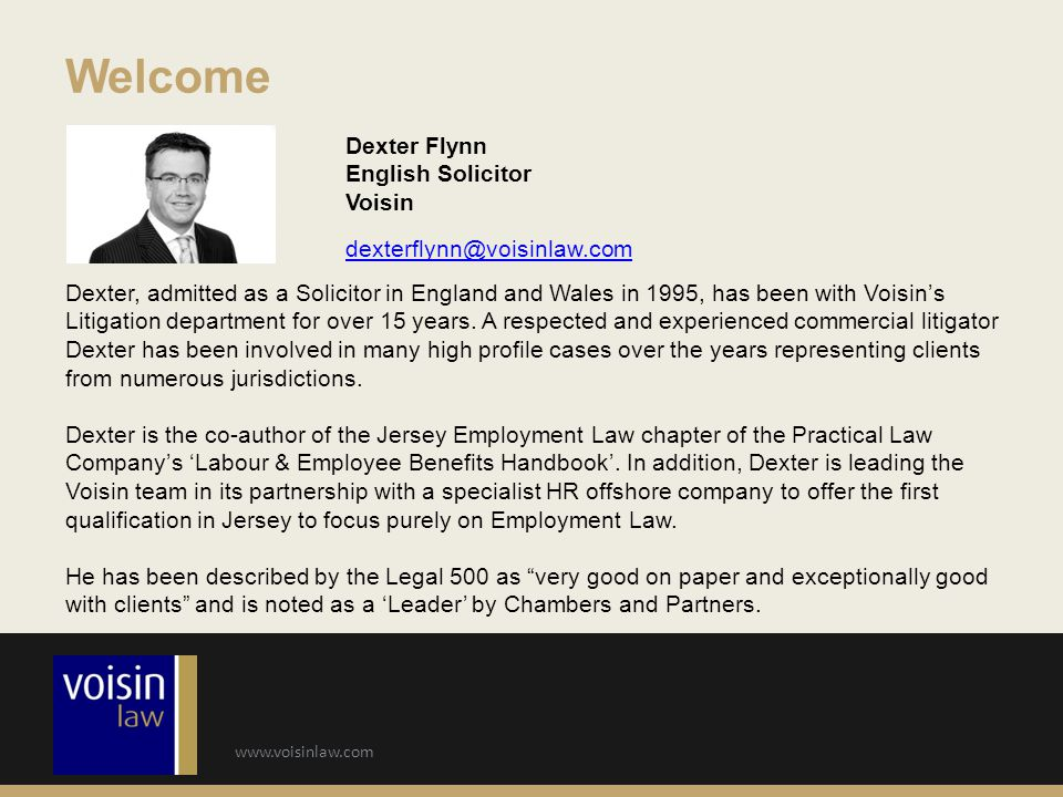 Welcome Dexter Flynn English Solicitor Voisin