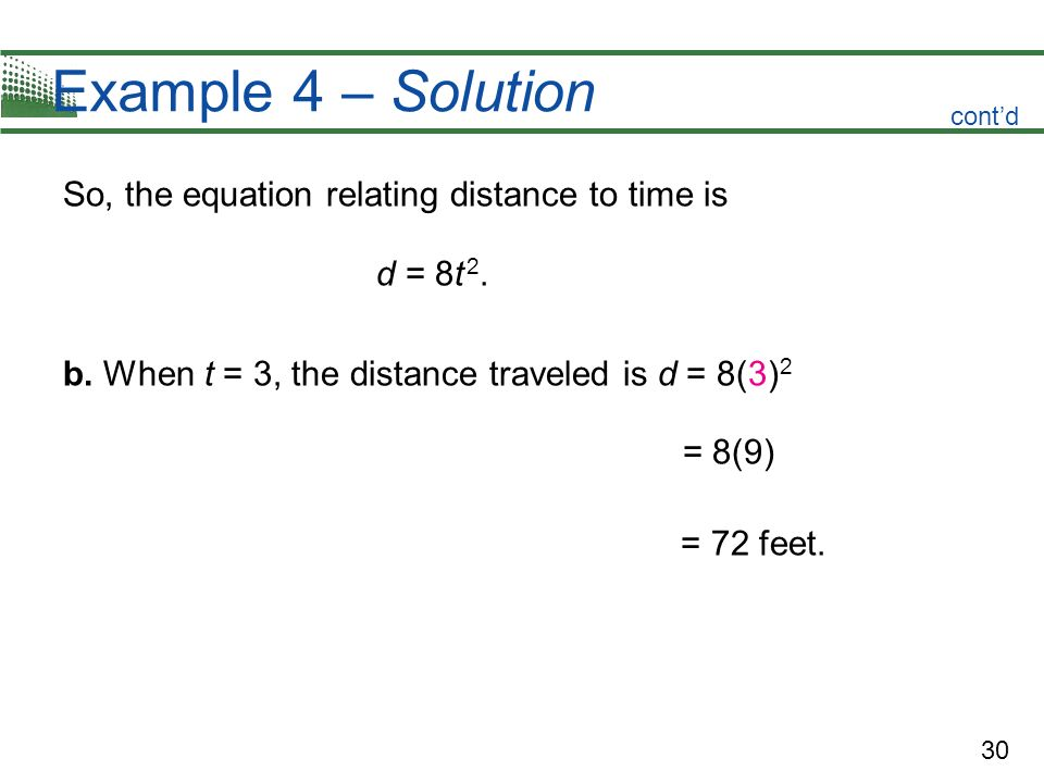 Example 4 – Solution So, the equation relating distance to time is