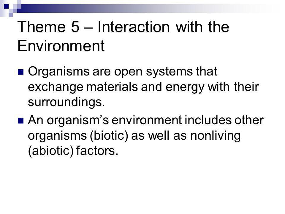Theme 5 – Interaction with the Environment