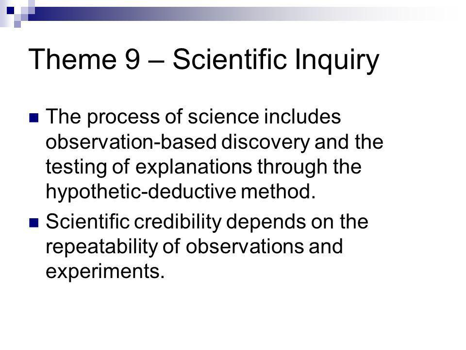 Theme 9 – Scientific Inquiry