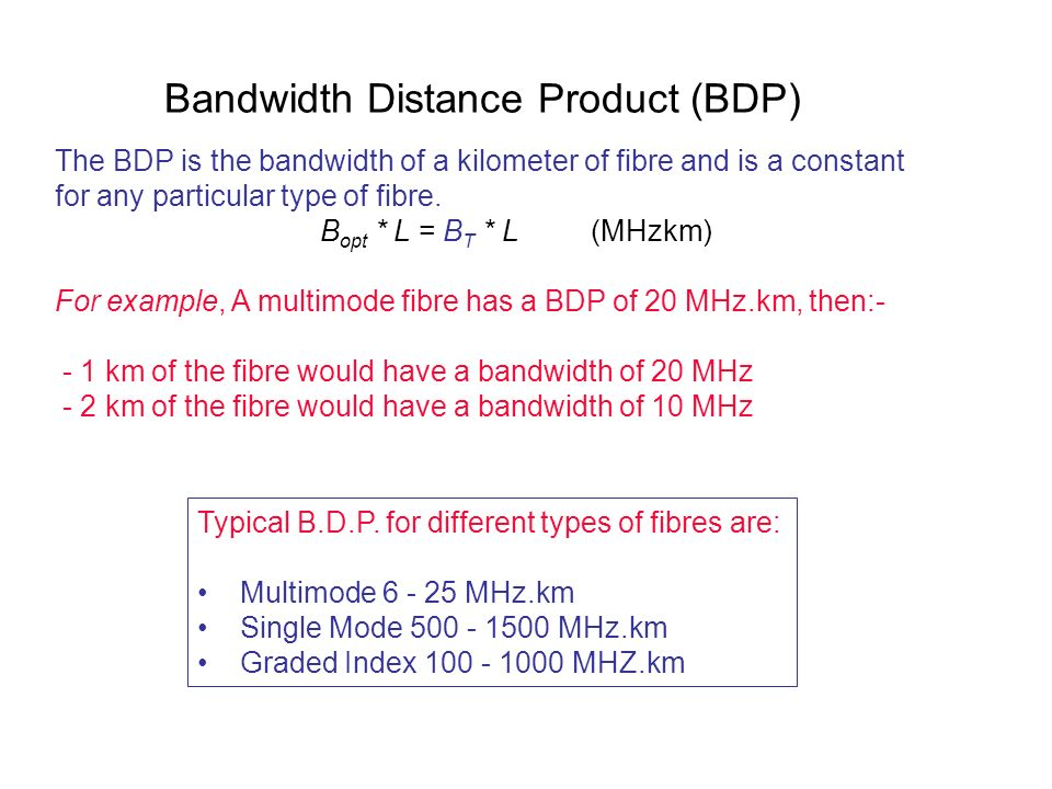 Bandwidth Distance Product (BDP)