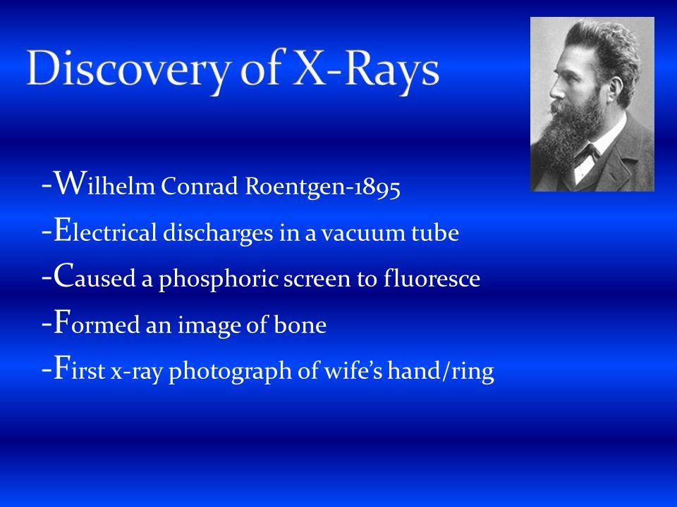 Discovery of X-Rays -Wilhelm Conrad Roentgen-1895