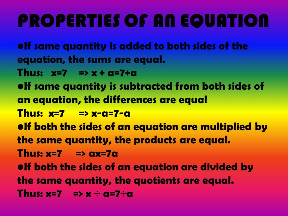 PROPERTIES OF AN EQUATION