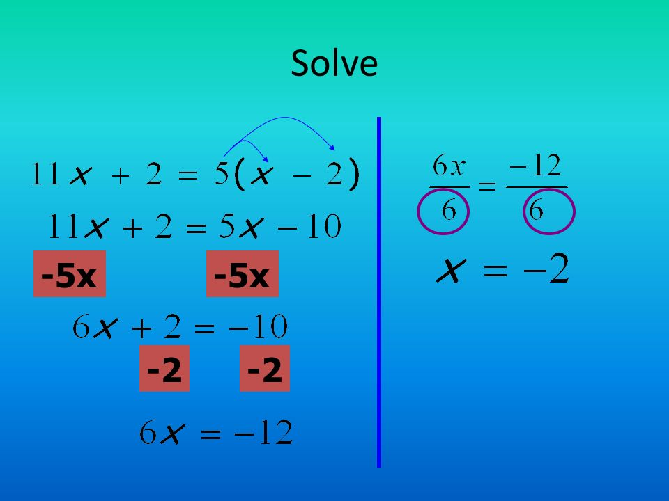 Solve -5x -5x -2 -2