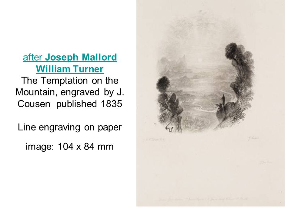 after Joseph Mallord William Turner The Temptation on the Mountain, engraved by J.
