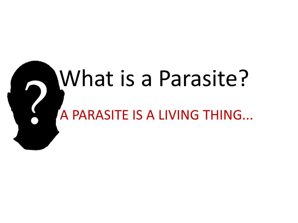 A PARASITE IS A LIVING THING...