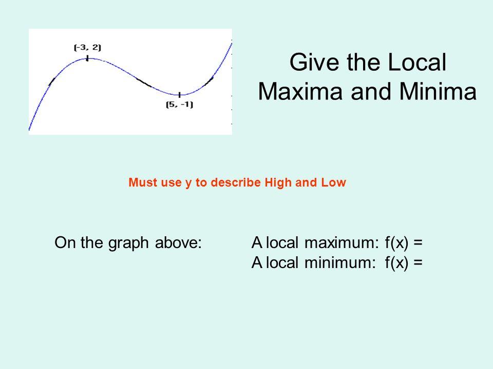 Give the Local Maxima and Minima