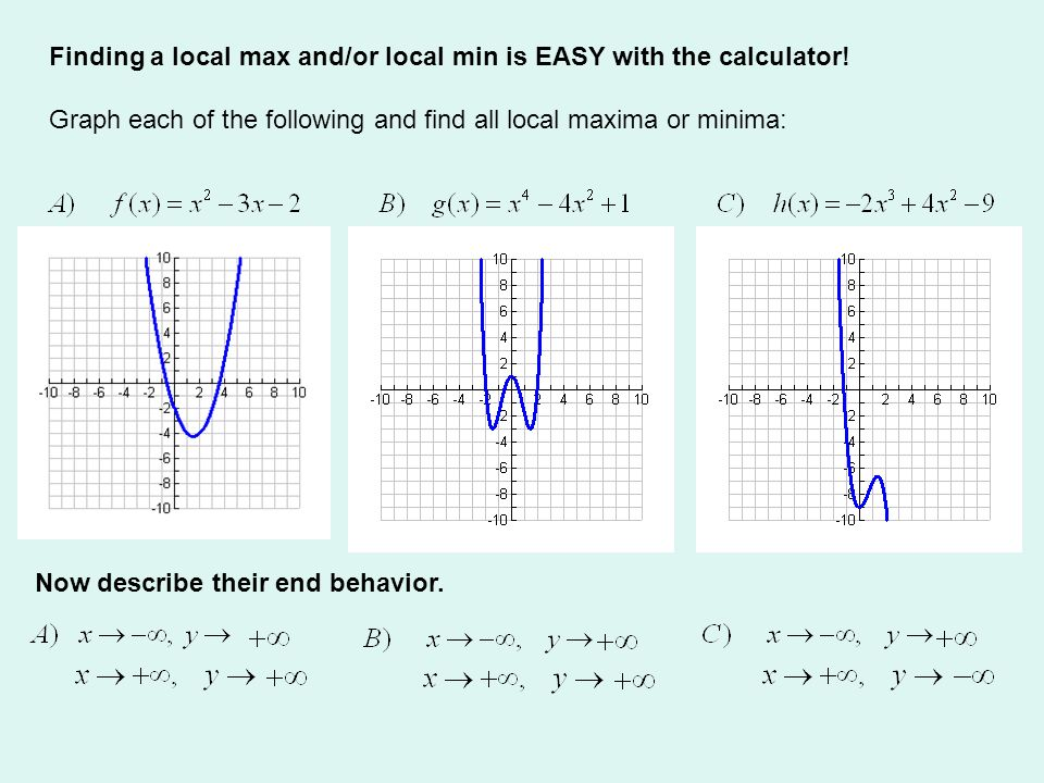 Finding a local max and/or local min is EASY with the calculator!
