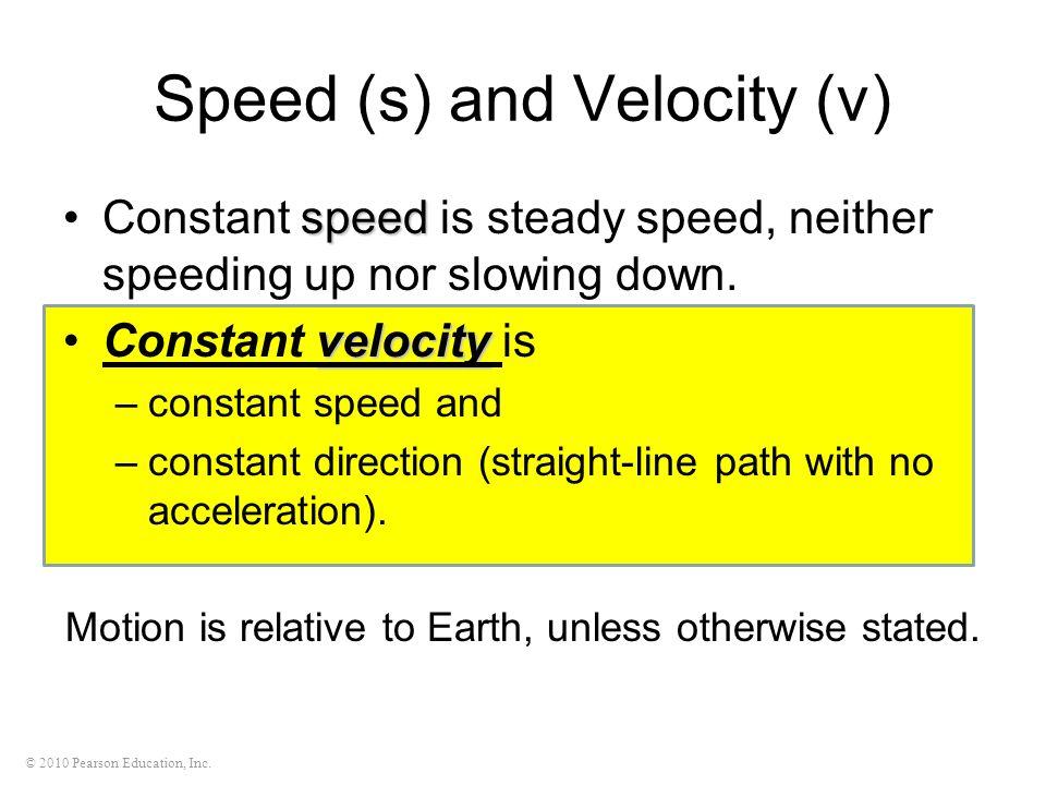 Speed (s) and Velocity (v)