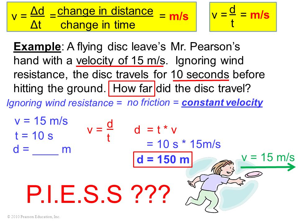 P.I.E.S.S Δd change in distance Δt change in time v = = = m/s d t
