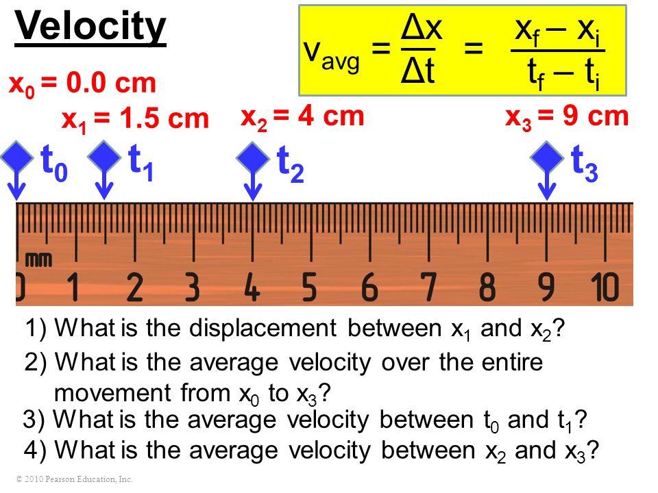 Velocity t0 t1 t2 t3 Δx xf – xi Δt tf – ti vavg = = x0 = 0.0 cm