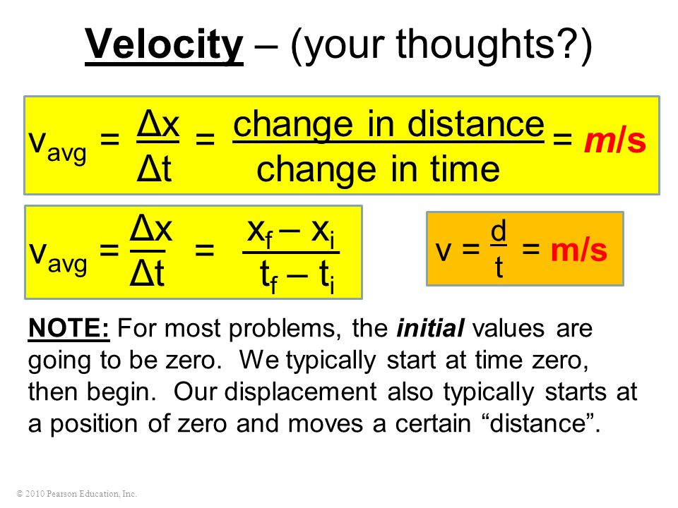 Velocity – (your thoughts )