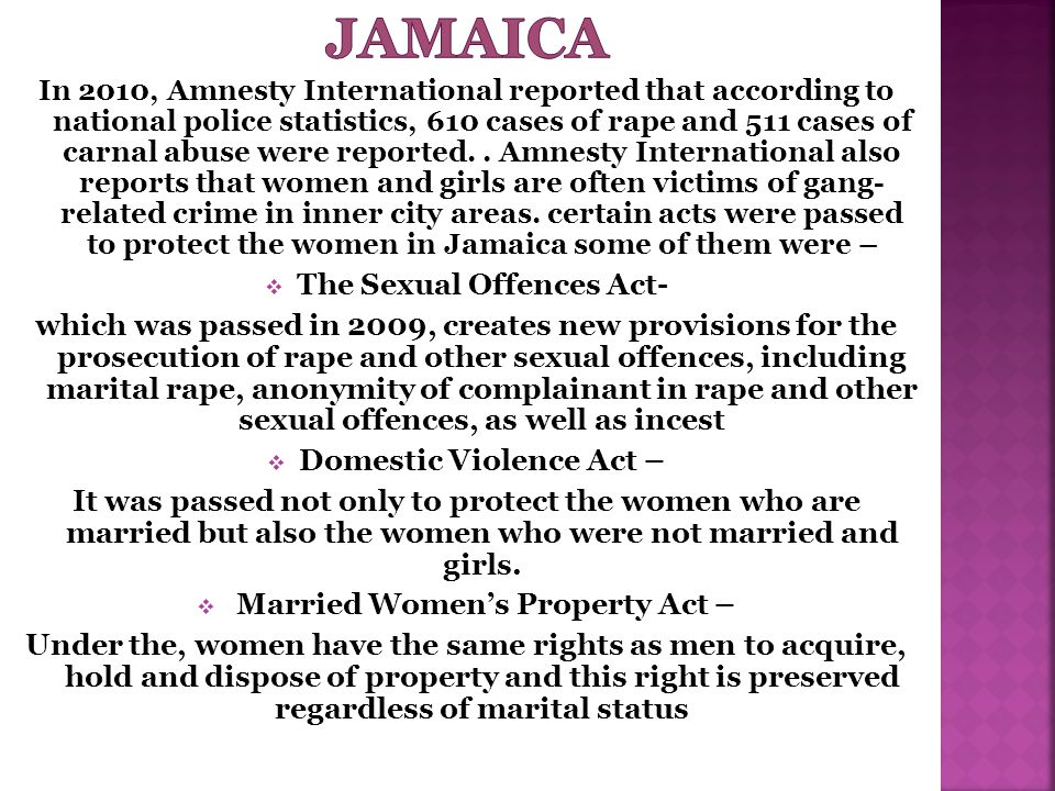 Jamaica The Sexual Offences Act-