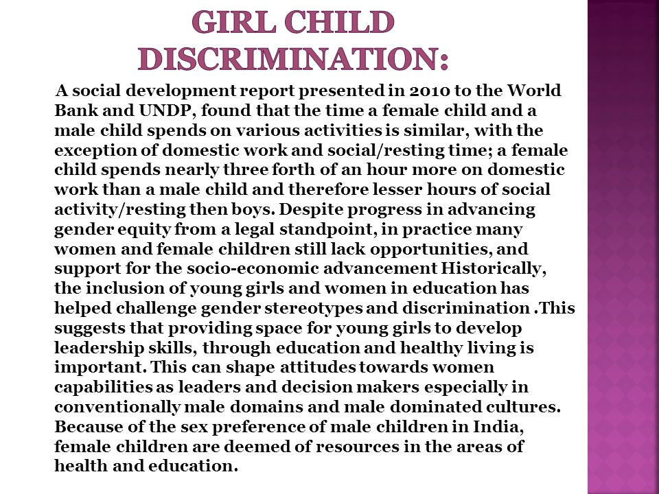 essay stressing discrimination against girl child indian society Attaining gender justice is not an easy task in india from time immemorial, a girl child has discrimination against gender discrimination in india.