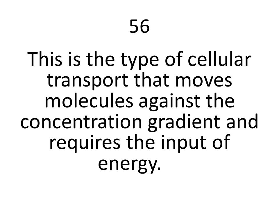 56 This is the type of cellular transport that moves molecules against the concentration gradient and requires the input of energy.