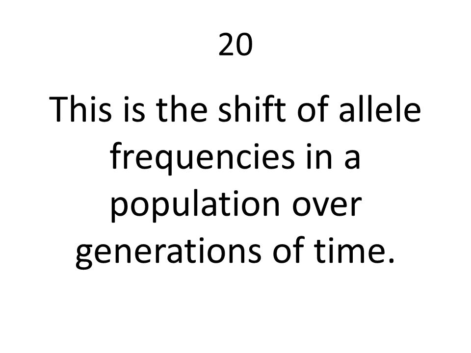 20 This is the shift of allele frequencies in a population over generations of time.
