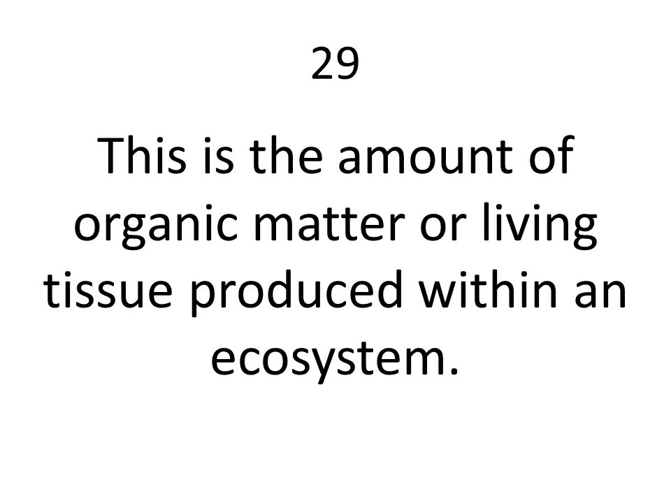 29 This is the amount of organic matter or living tissue produced within an ecosystem.
