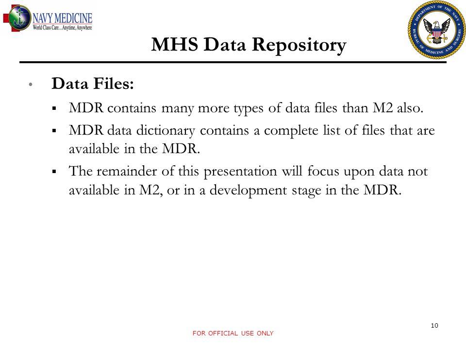 MHS Data Repository Data Files: