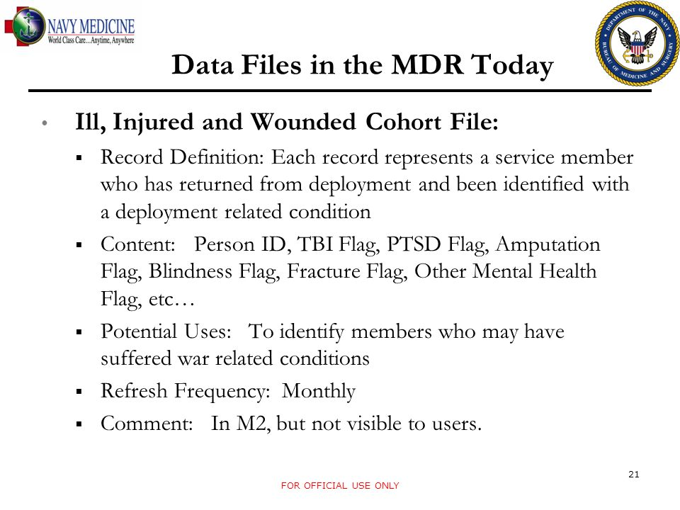 Data Files in the MDR Today