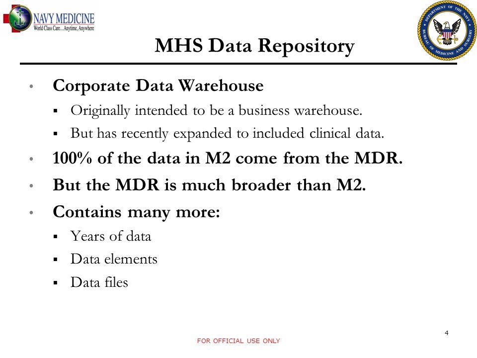 MHS Data Repository Corporate Data Warehouse
