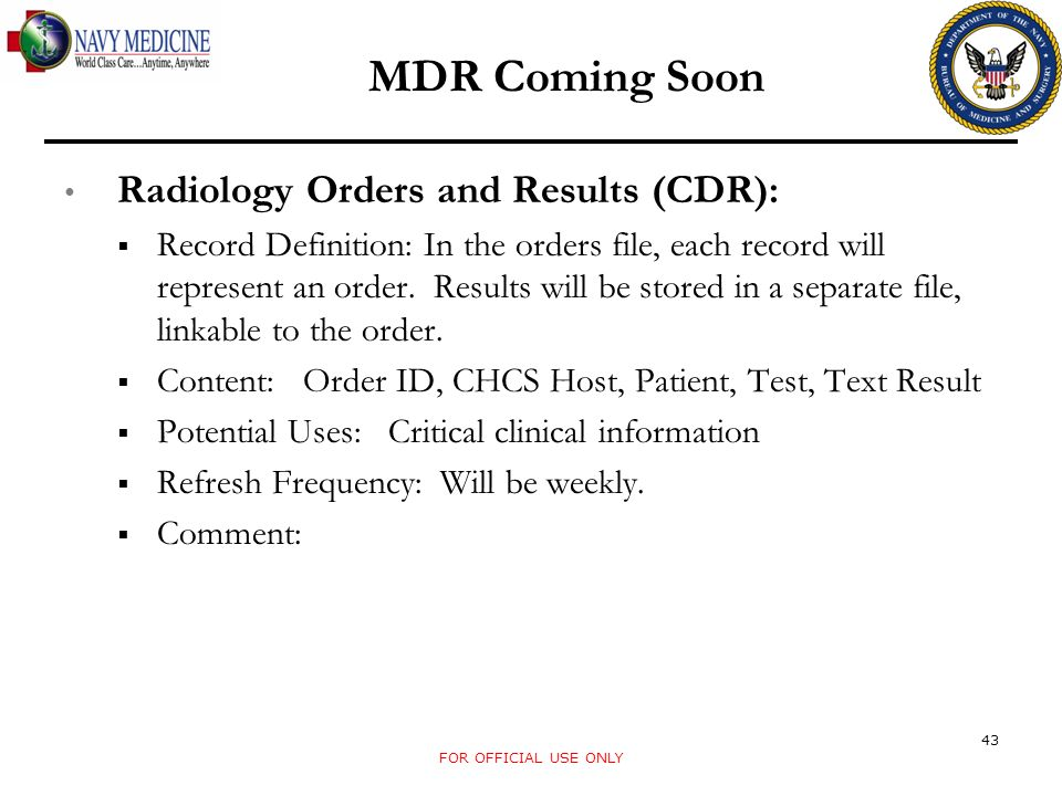 MDR Coming Soon Radiology Orders and Results (CDR):