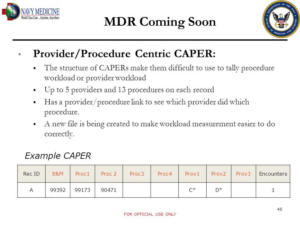 MDR Coming Soon Provider/Procedure Centric CAPER: