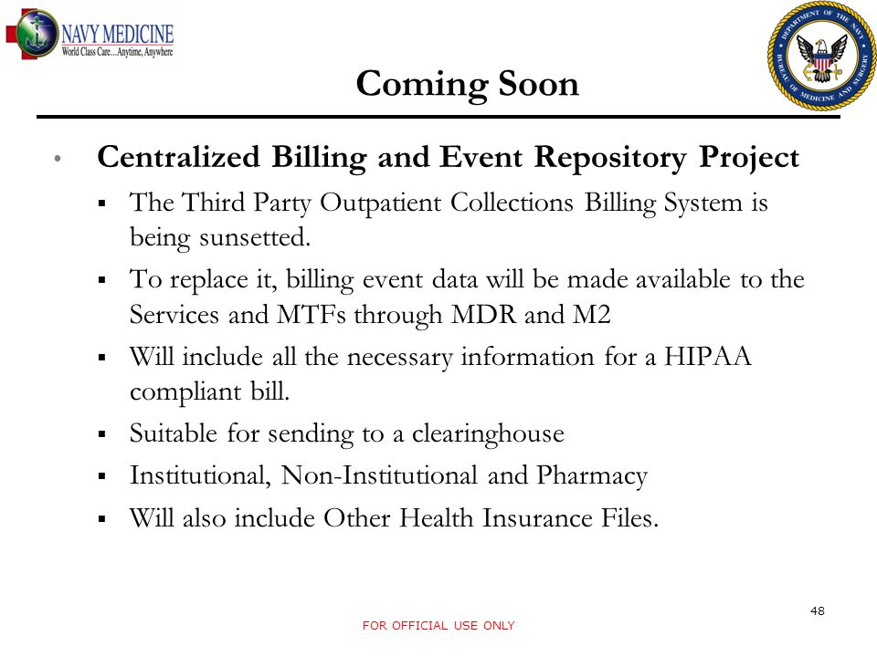 Coming Soon Centralized Billing and Event Repository Project
