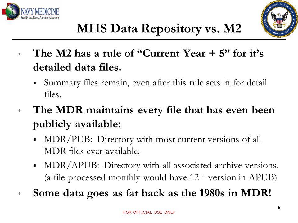 MHS Data Repository vs. M2