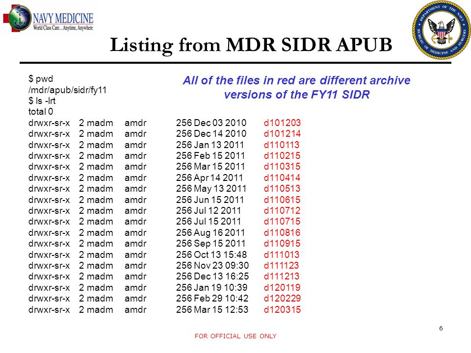 Listing from MDR SIDR APUB