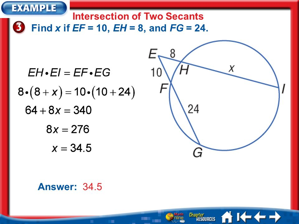 Intersection of Two Secants Find x if EF = 10, EH = 8, and FG = 24.