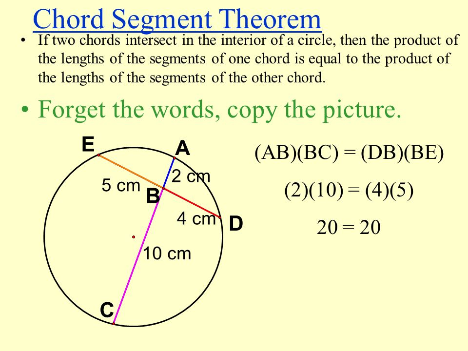 Chord Segment Theorem Forget the words, copy the picture. E A