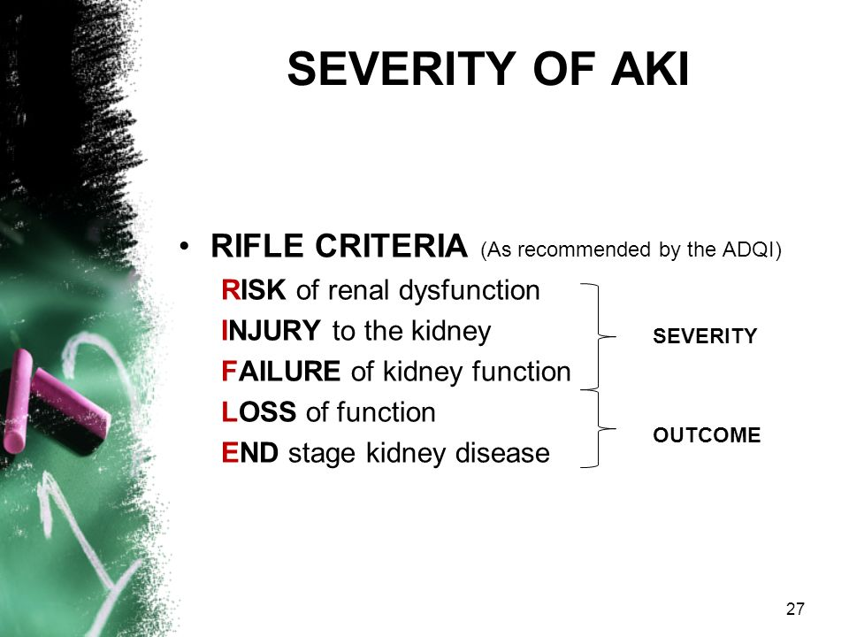 SEVERITY OF AKI RIFLE CRITERIA (As recommended by the ADQI)