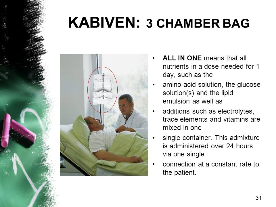 KABIVEN: 3 CHAMBER BAG ALL IN ONE means that all nutrients in a dose needed for 1 day, such as the.