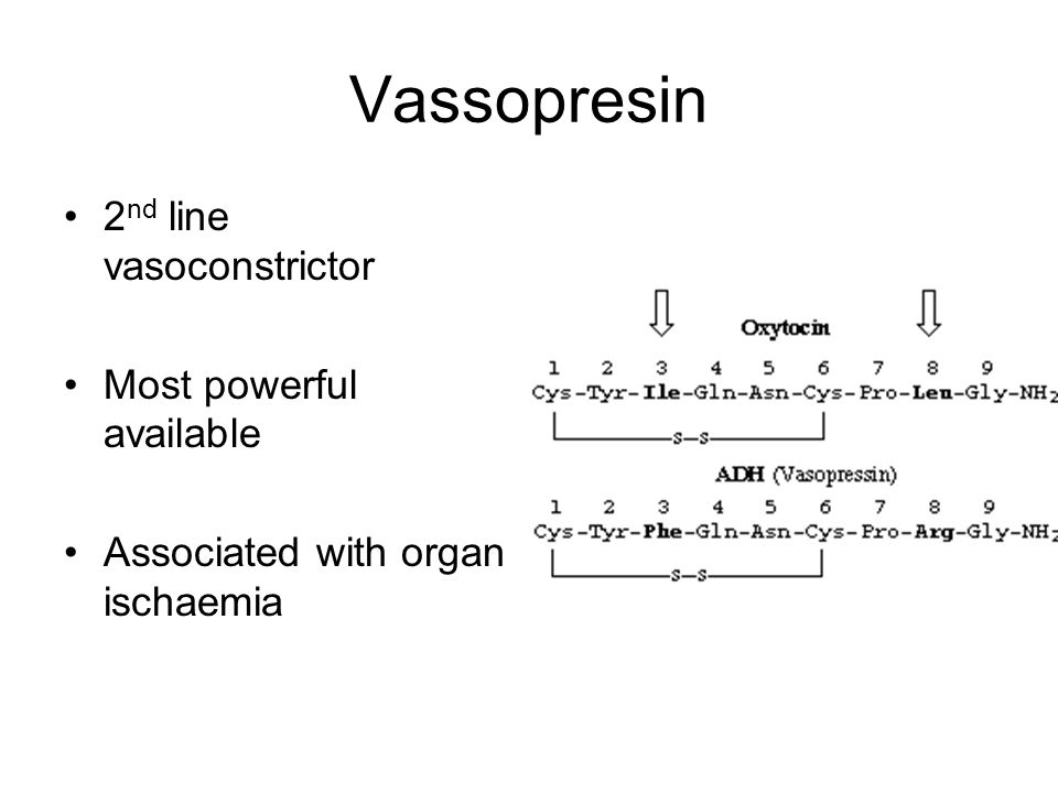 Vassopresin 2nd line vasoconstrictor Most powerful available