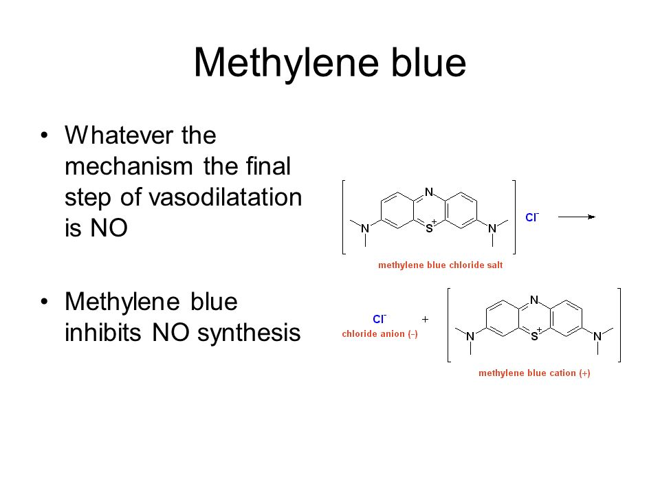 Methylene blue Whatever the mechanism the final step of vasodilatation is NO.