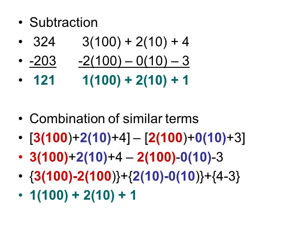 Subtraction 324 3(100) + 2(10) + 4. -203 -2(100) – 0(10) – 3. 121 1(100) + 2(10) + 1. Combination of similar terms.