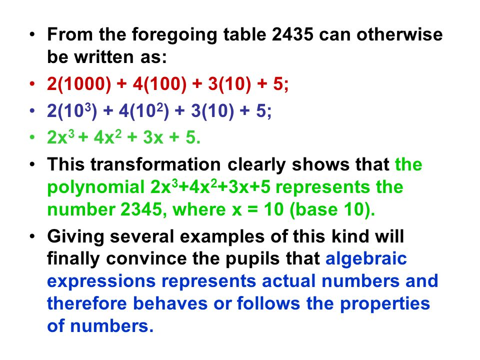 From the foregoing table 2435 can otherwise be written as: