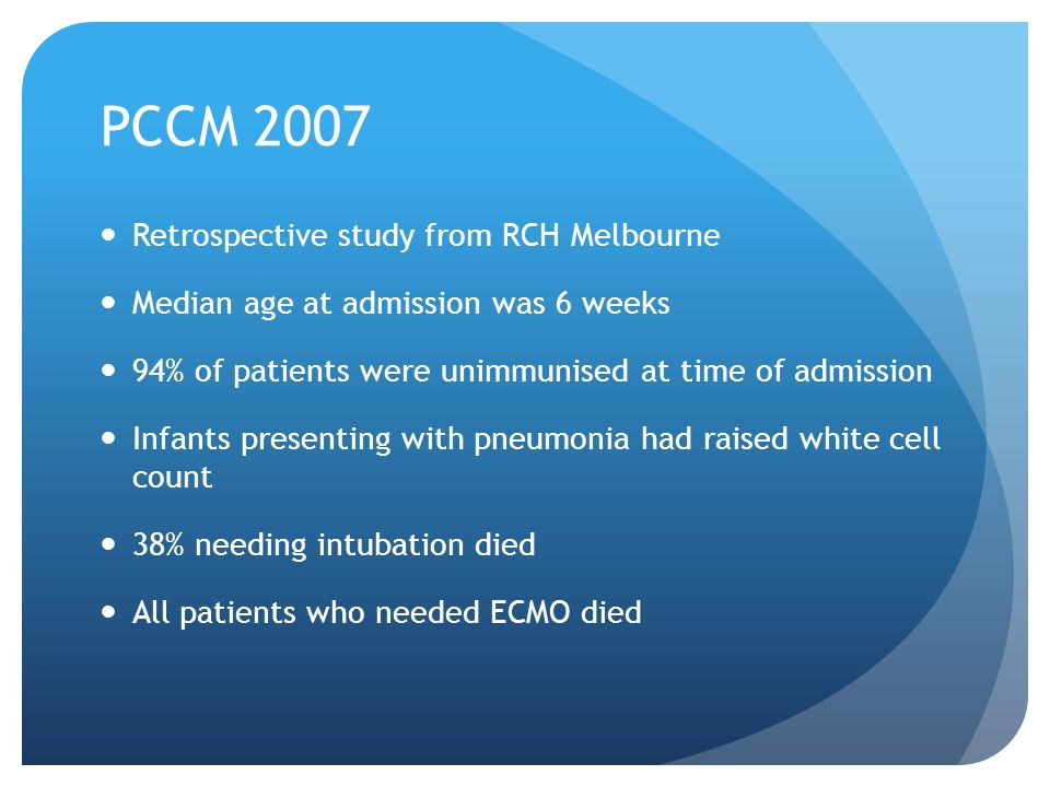 PCCM 2007 Retrospective study from RCH Melbourne