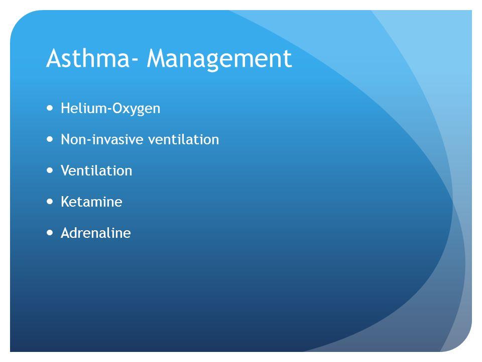 Asthma- Management Helium-Oxygen Non-invasive ventilation Ventilation