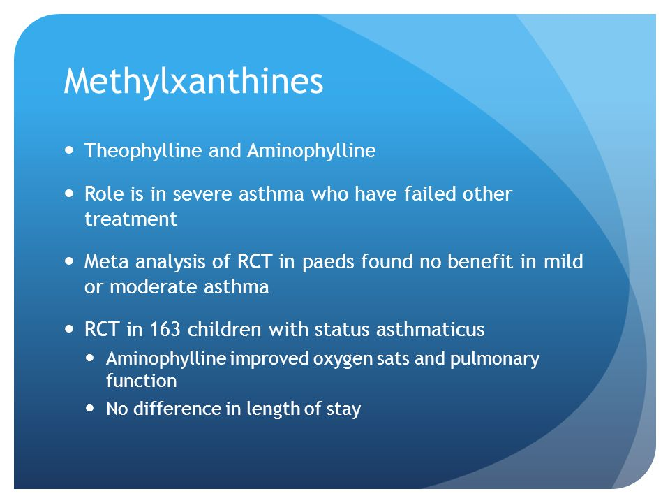 Methylxanthines Theophylline and Aminophylline