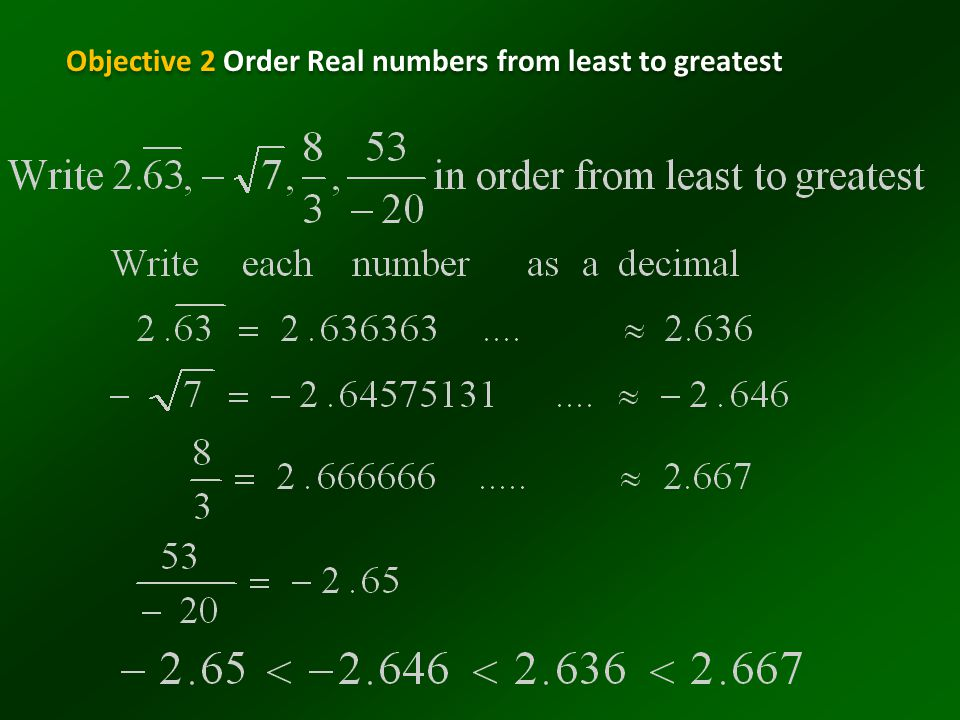 Objective 2 Order Real numbers from least to greatest